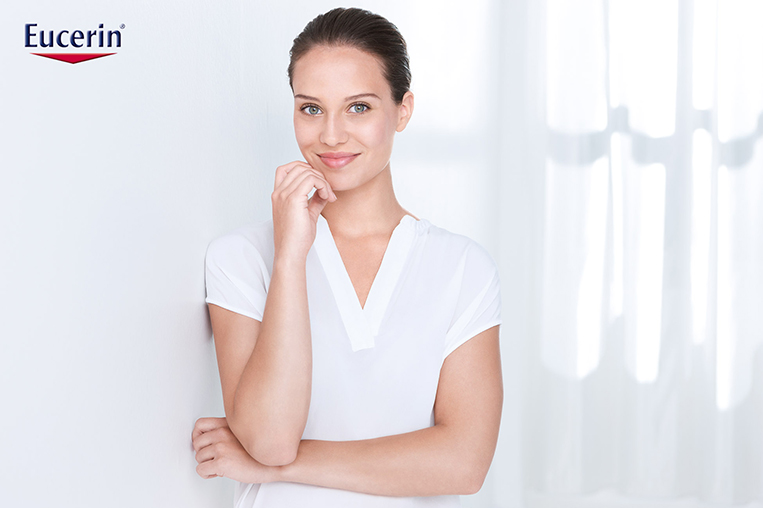woman female model white shirt eucerin