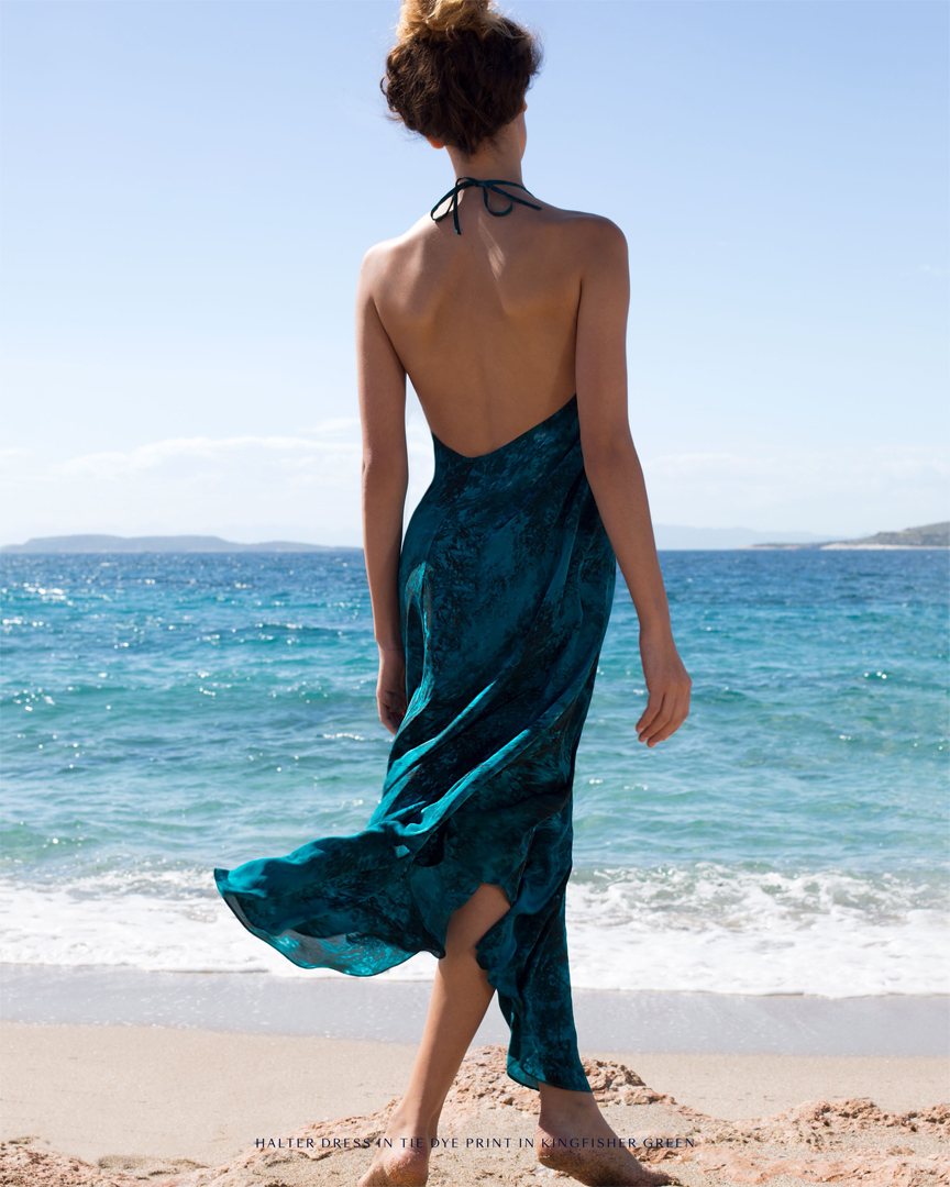 blue dress girl curls sunshine sea