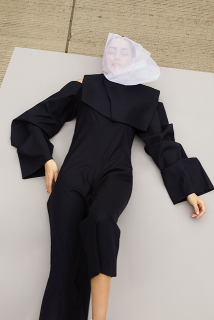 female model lying on floor
