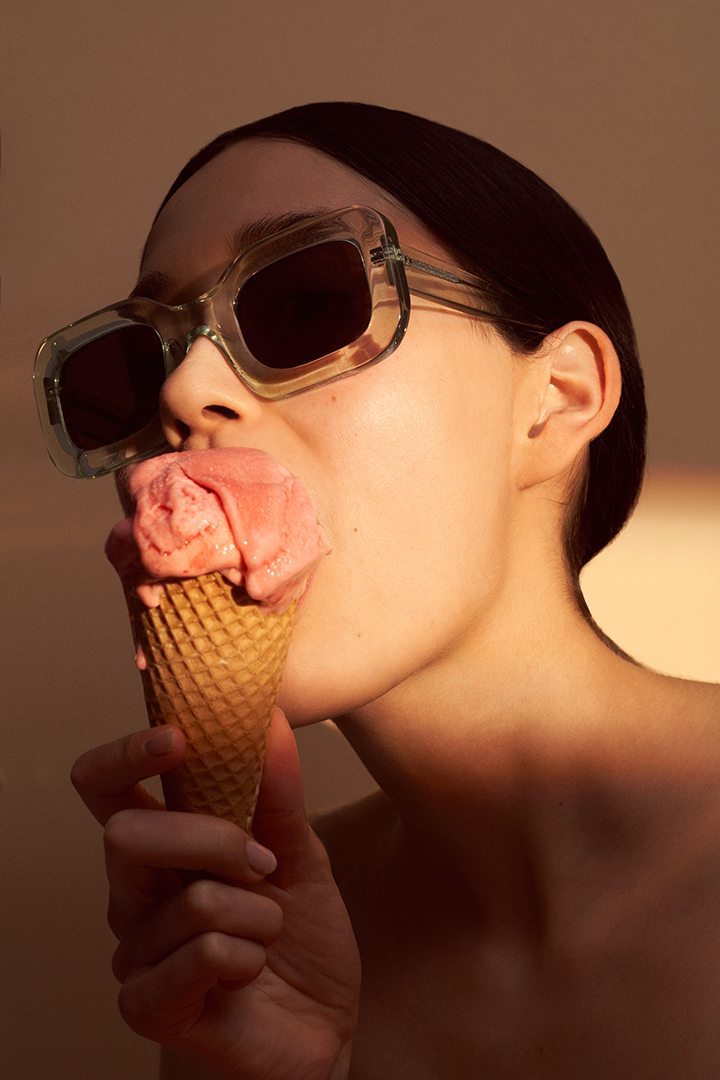 Glamour Germany Editorial Icecream Sunglasses Girl Model hair Ponytail