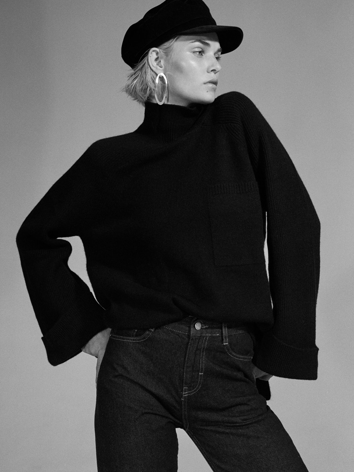 model editorial posing blaack and white fashion styles fall collection