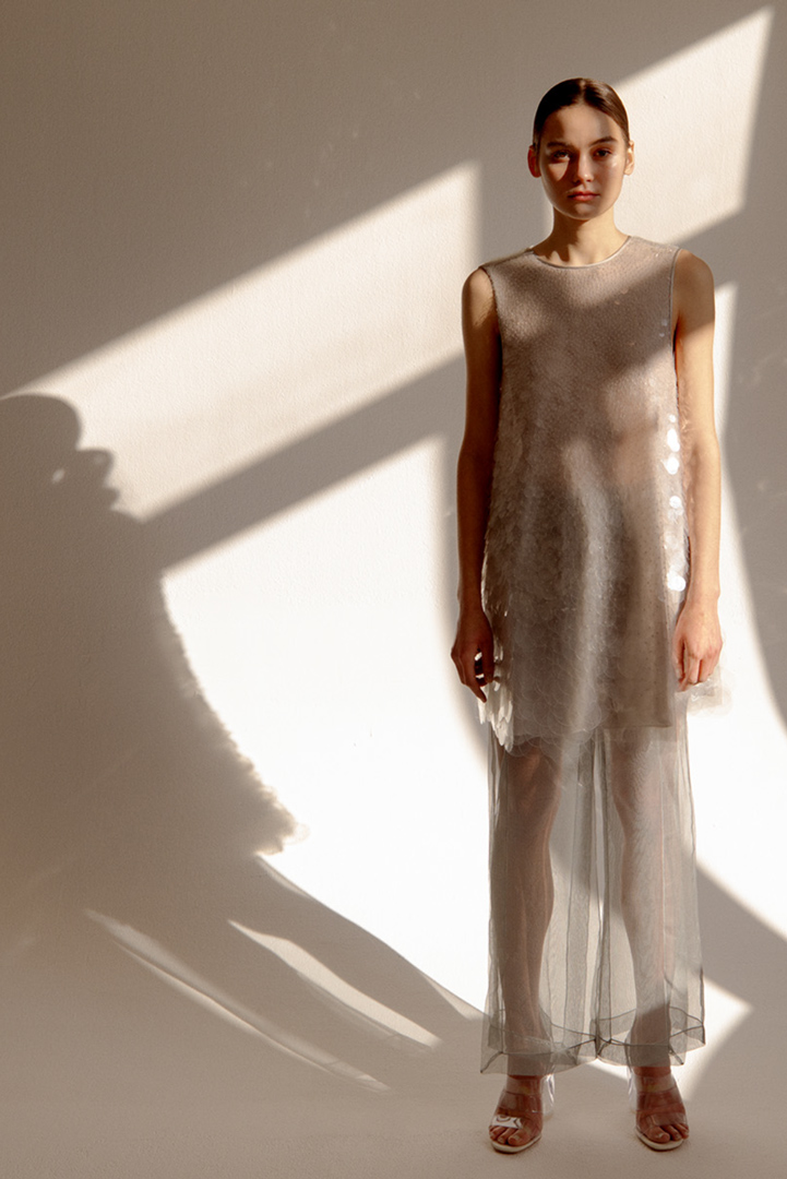 woman in white transparent dress