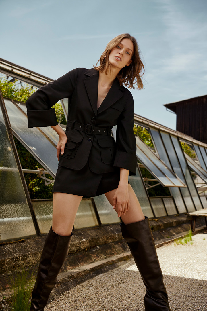 female model black jacket and boots