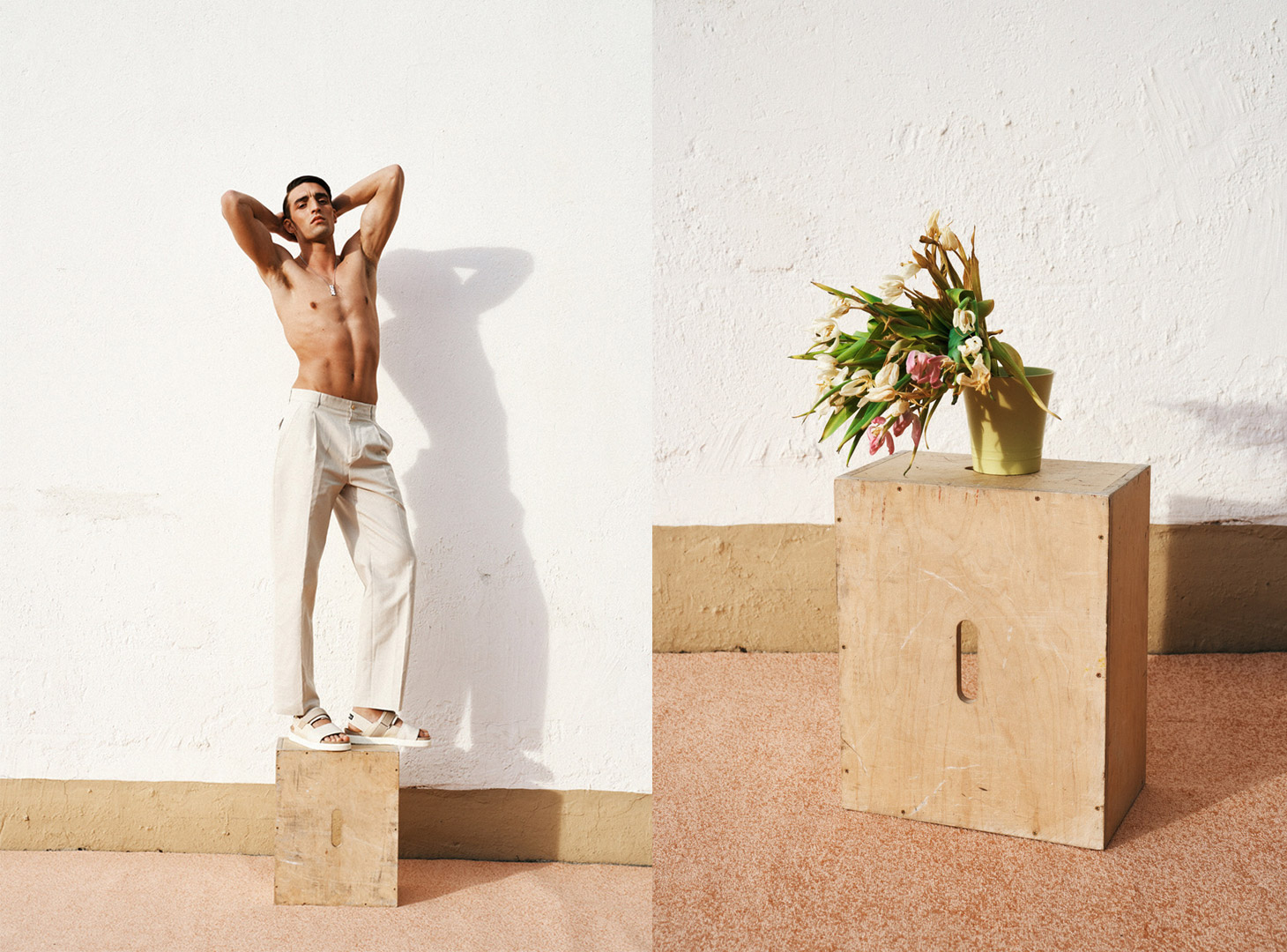 man standing on box withered flowers