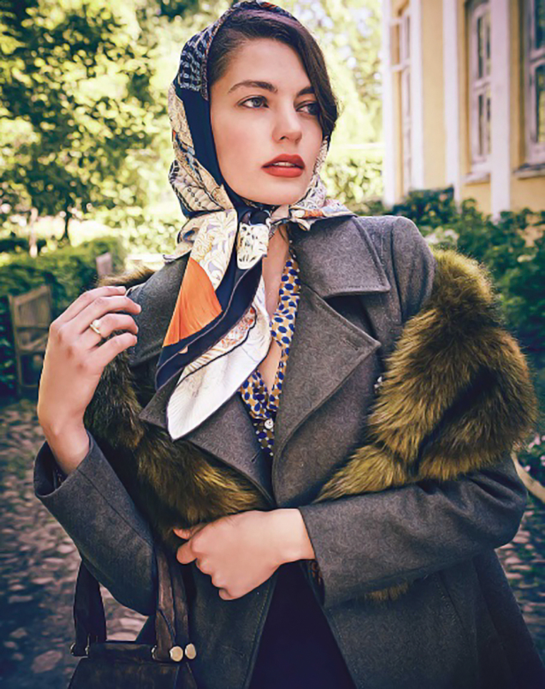 female model with scarf