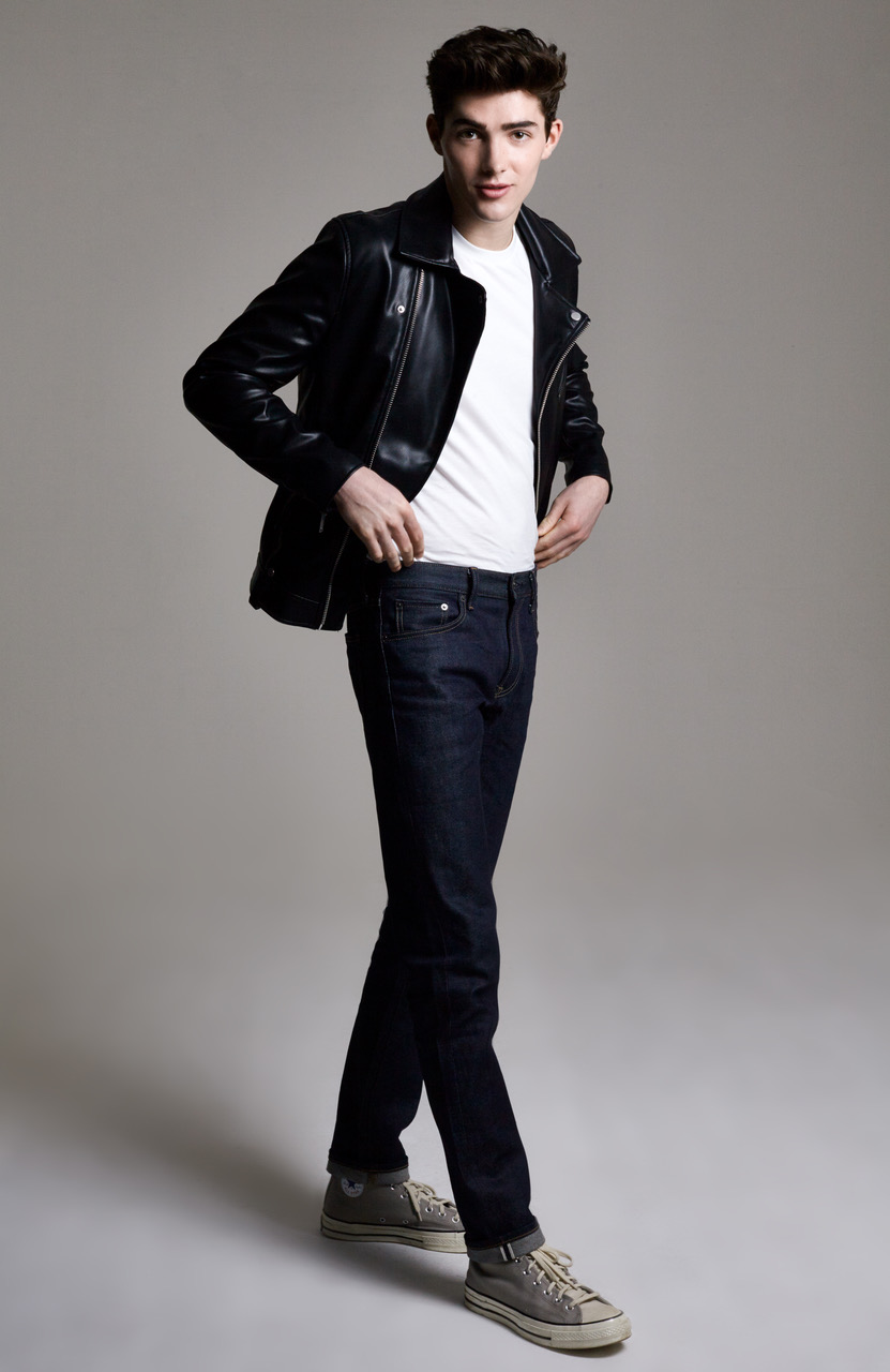 Boy Black White young  Leather Jacket