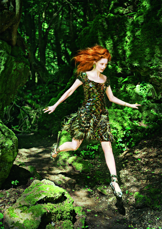 Model Wood Orange Hair Fairy Jumping