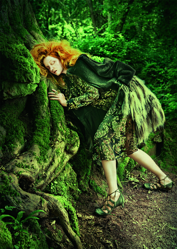 Model Wood Orange Hair Fairy Sleeping