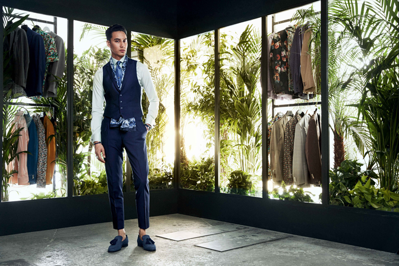 Male Model Elegant Suit Plants