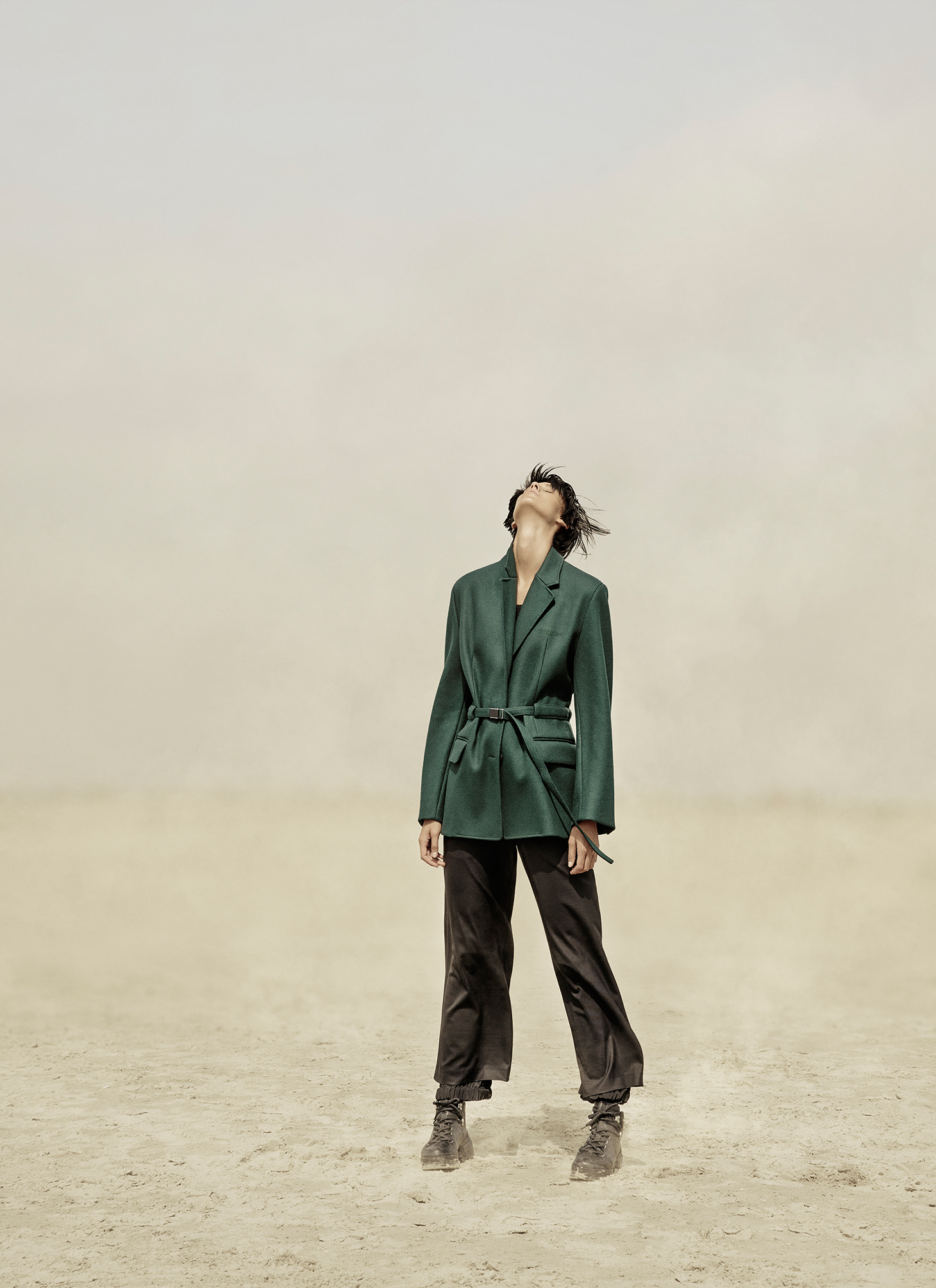 Green Coat Woman Short Hair