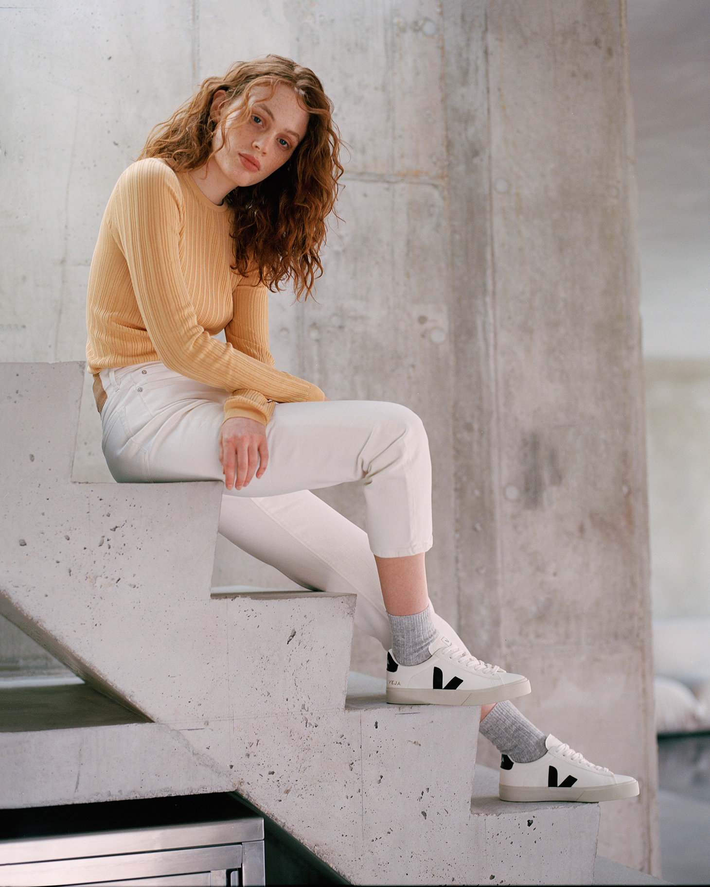 Red Curly Hair Stairs Female Model