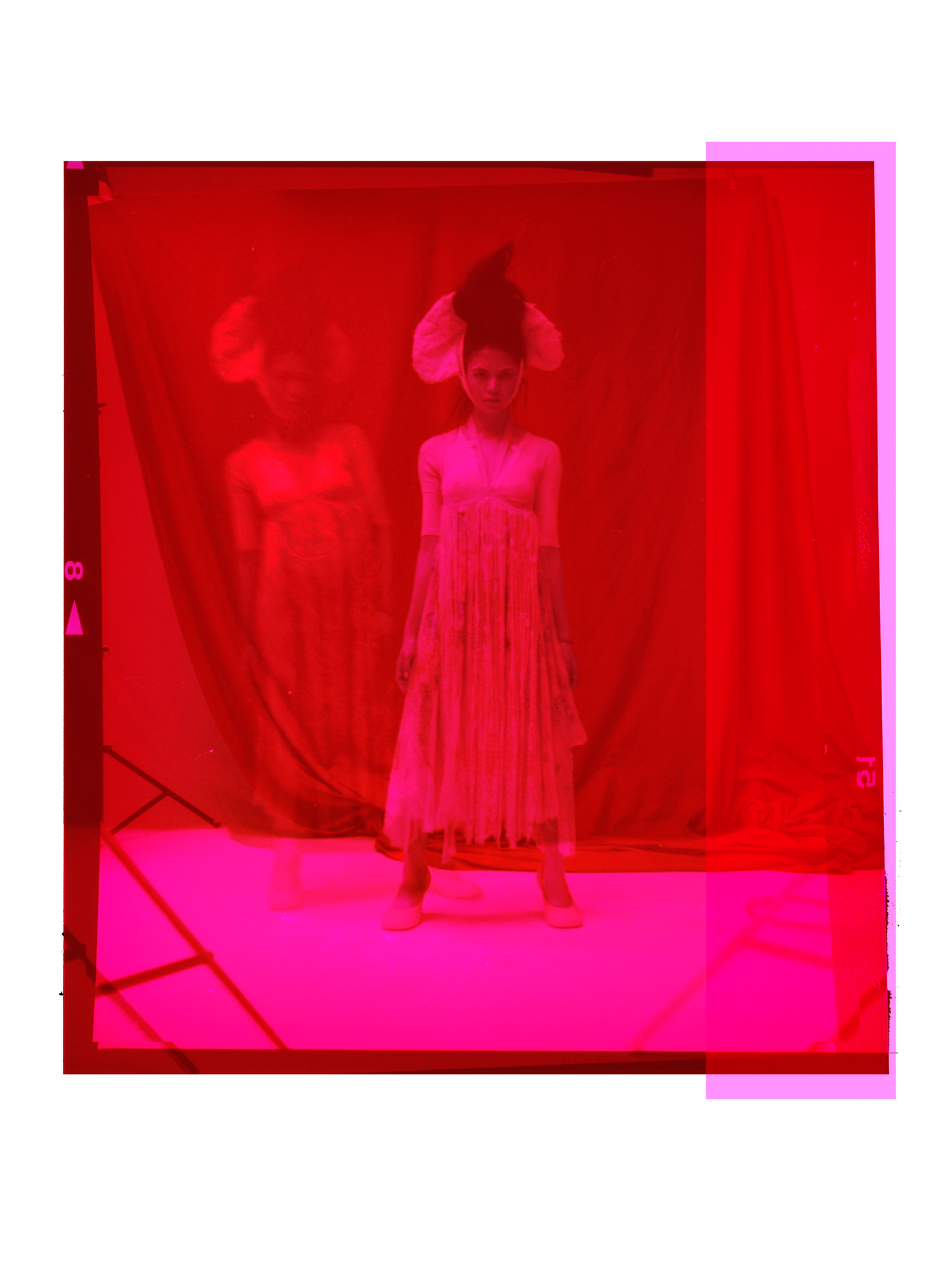 Red Background Long Dress Woman