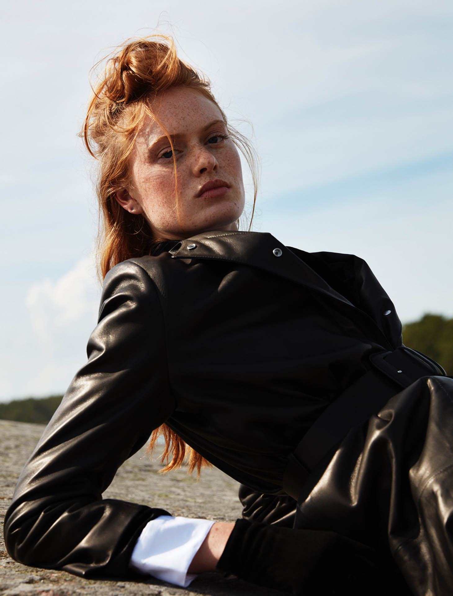 icon magazine red hair outdoor shooting male female tony lundstroem hair styling