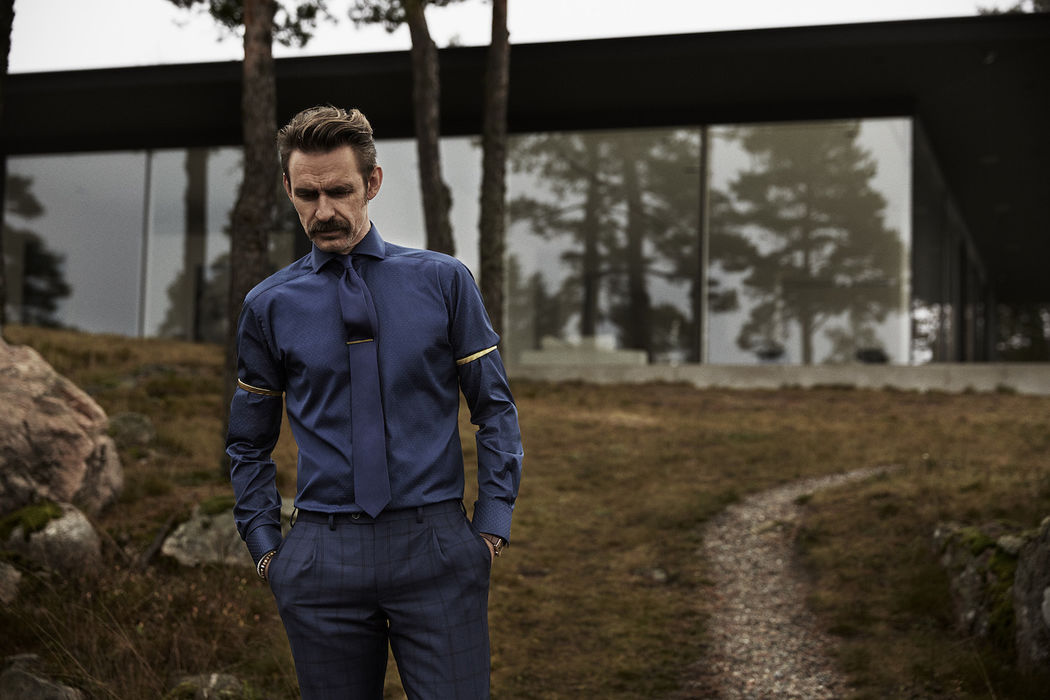 Male Model Moustache Blue Suite Outdoor Forest