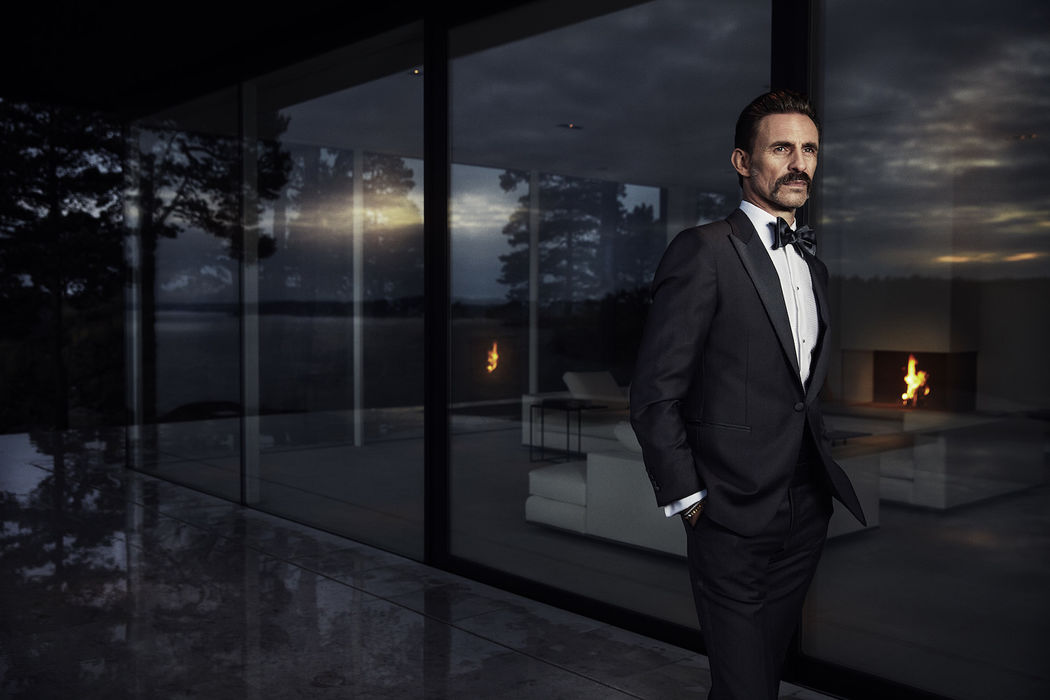 Male Model Moustache Black Suite Outdoor Forest