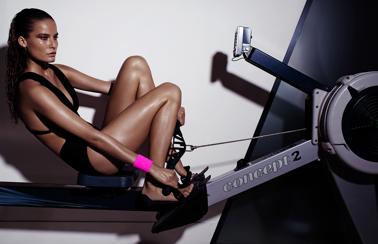 model workout grazia uk body suit swimsuit rowing machine