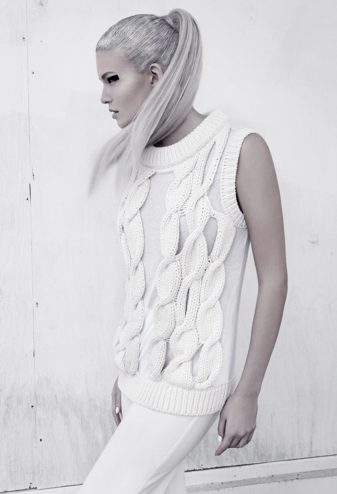 fyling hair model posing wall silver hair cardigan all white