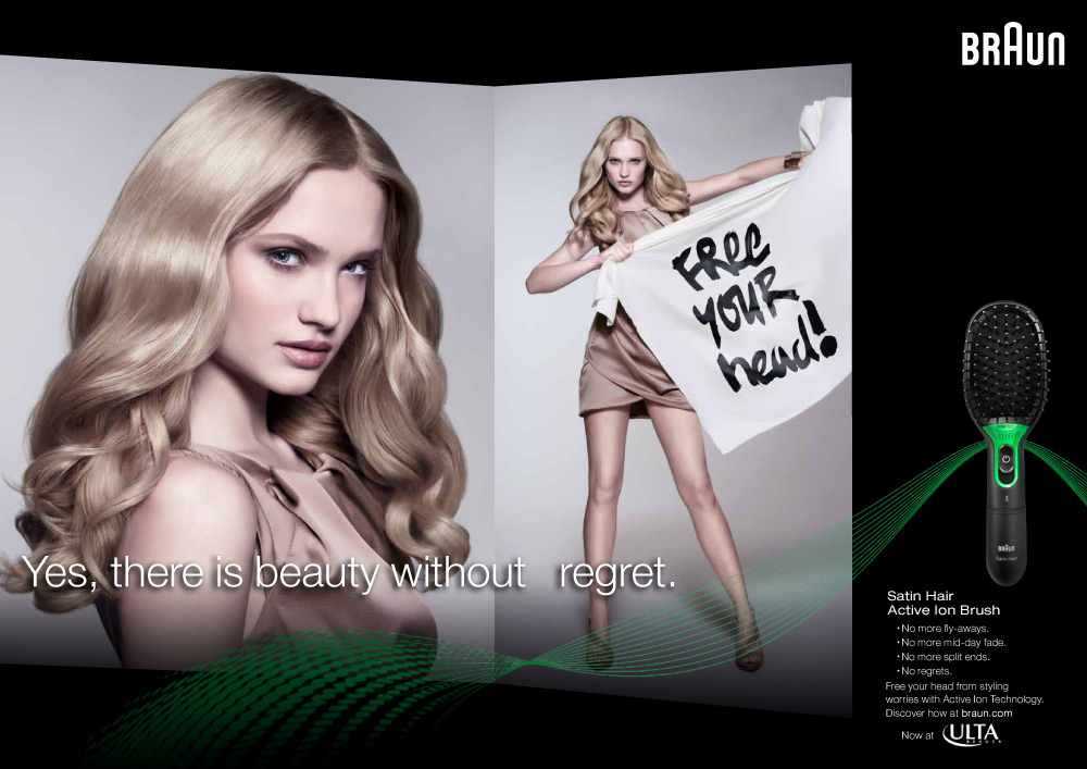 Blond Hair Ad Model Holding Sign
