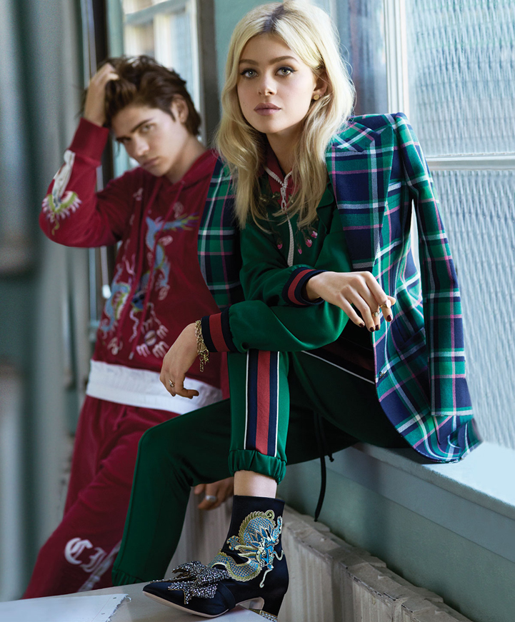 Nicola Peltz model coat green fashion hair