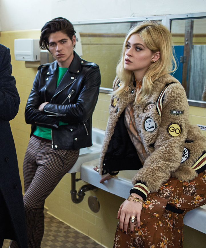 Peltz siblings celebrities fashion posing jackets styling hair grooming