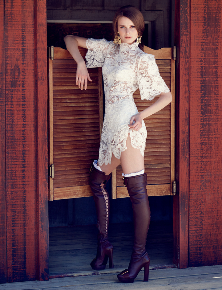 dress lacedress earrings saloon cowboy boots leather model fashion