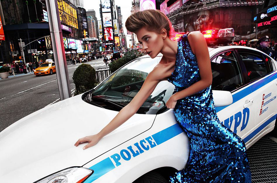 Traffic car police Times Square high fashion dress model updo hair look
