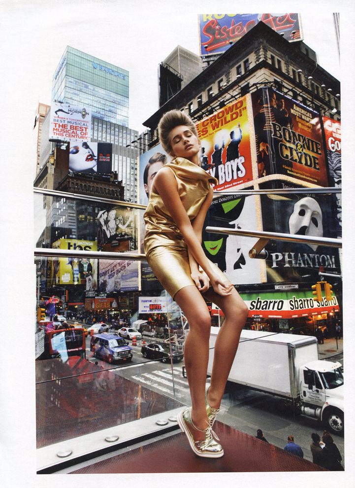 Times Square high fashion gold metallic dress model updo hair look skyscraper