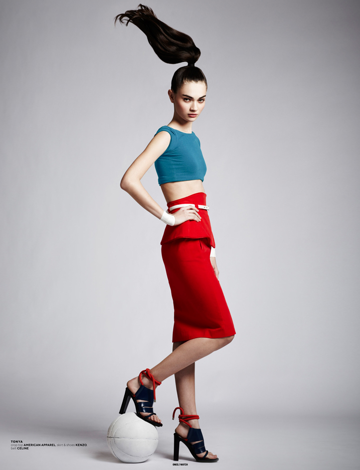 model posing red skirt fashion sporty