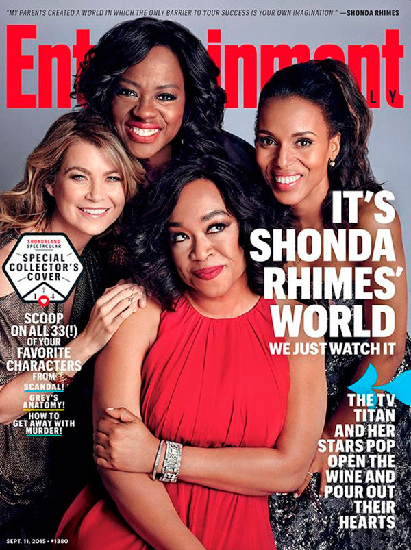 cover entertainment weekly actress author Ellen Pompeo Shonda Rhimes portraits hair lipstick makeup it shonda rhimes world