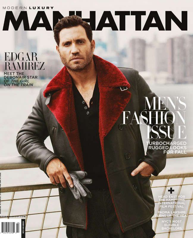 Edgar Ramirez Luxury Manhattan Skyline fashion jacket actor