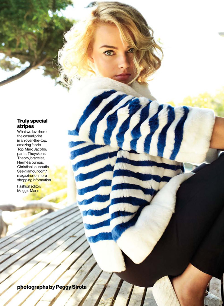 Special stripes fashion look Margot Robbie 50s hair