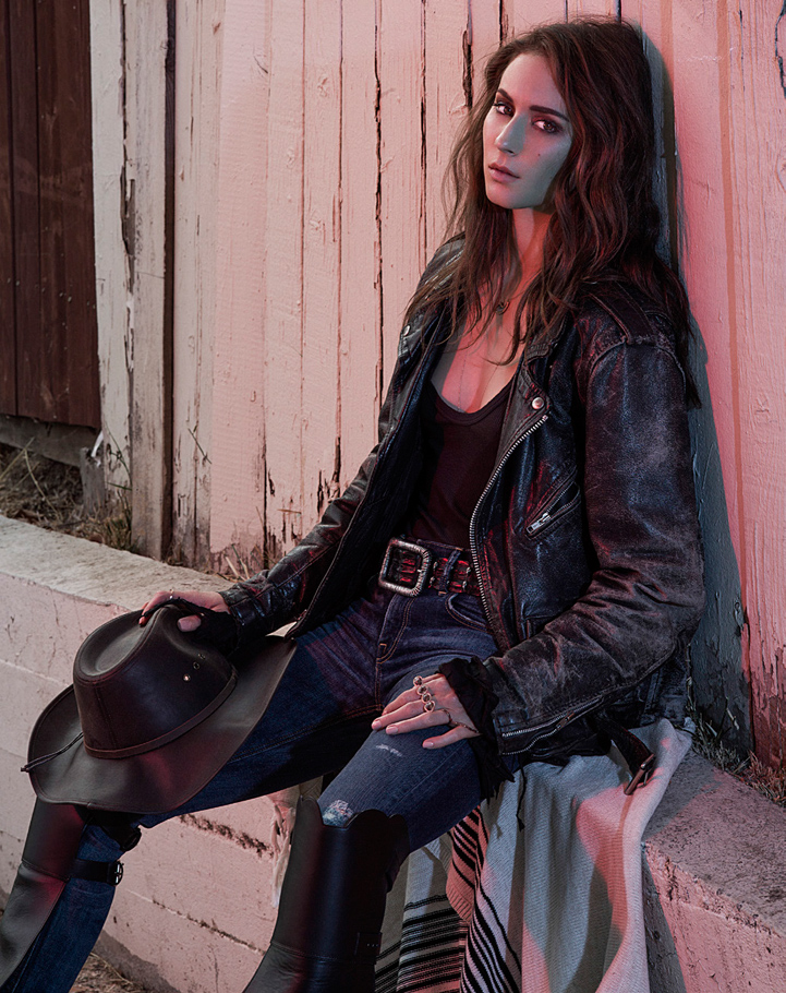 Troian Bellisario Pretty little liars fashion actress leather jacket posing