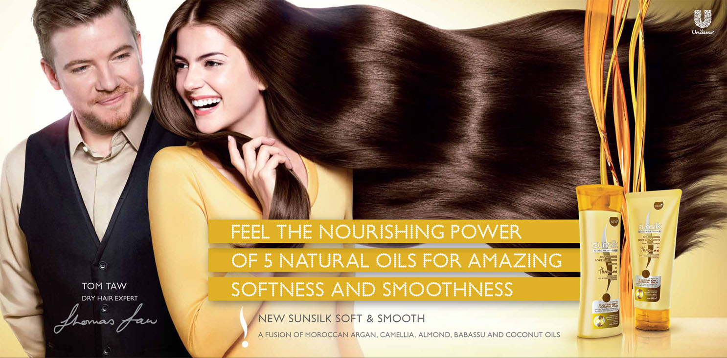 hair Tom Taw model power softness smoothness advertisement shampoo sunsilk smooth