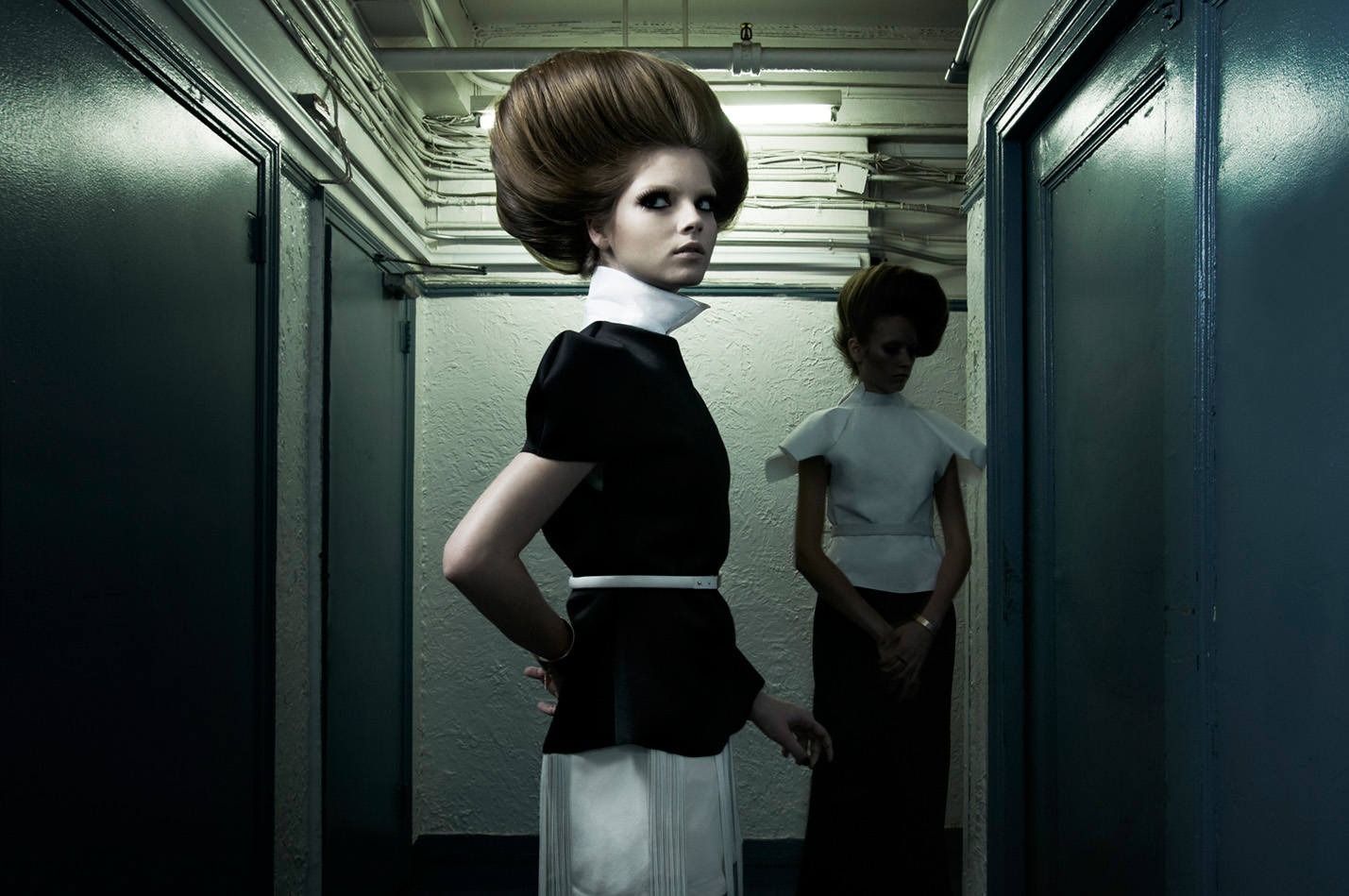 black white blouse big hair model skirt dark corridor