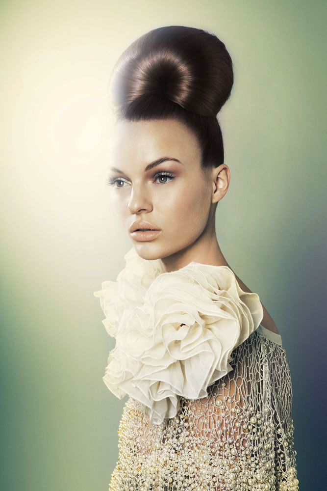 updo hairstyle bun face model