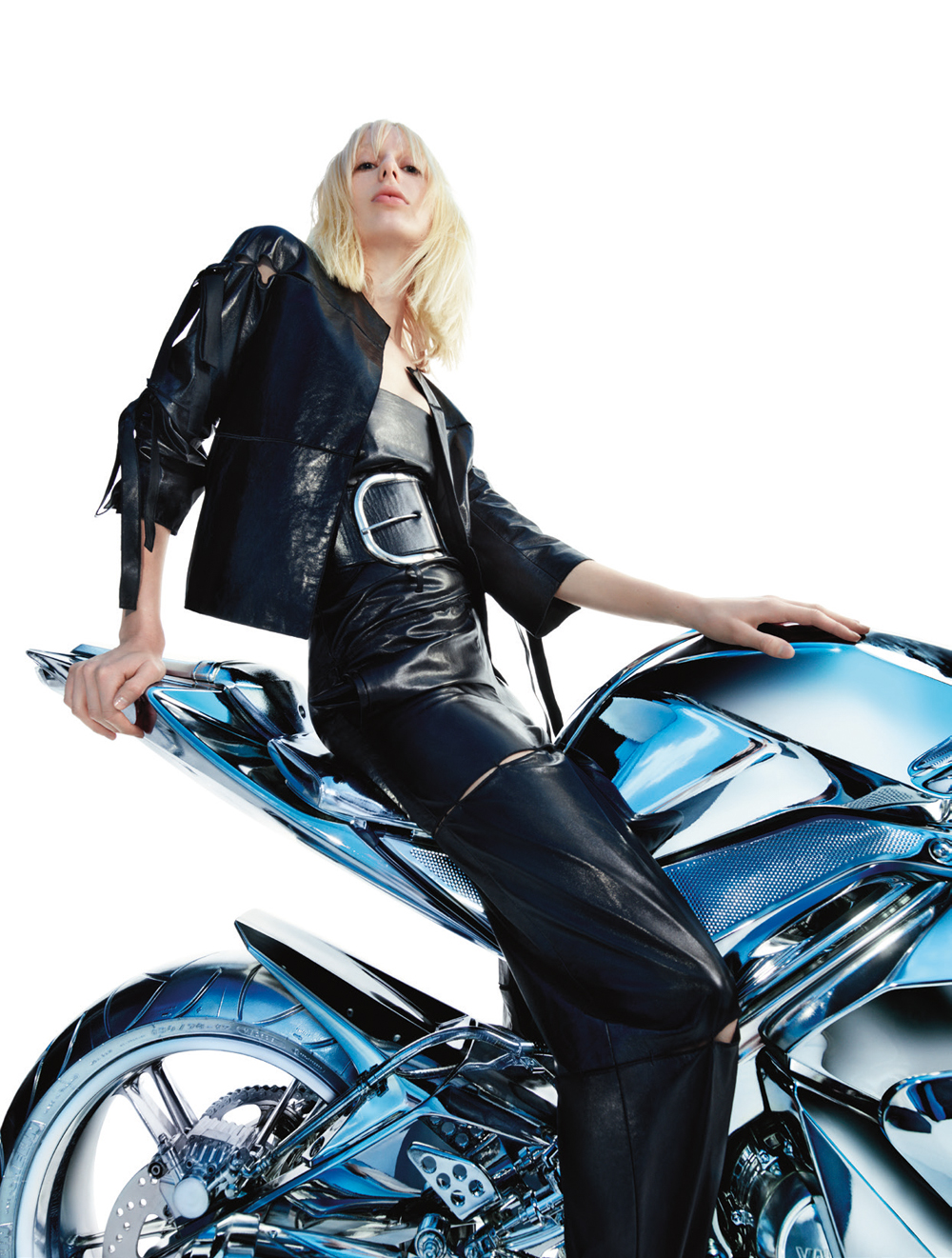 Female Model Leather Chrome Motorcycle Blond
