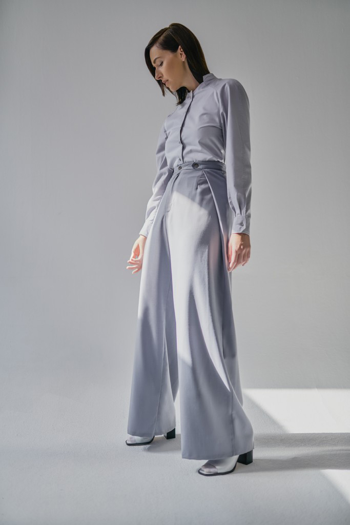 Kim Riedle studio portrait fashion styling wide leg pants