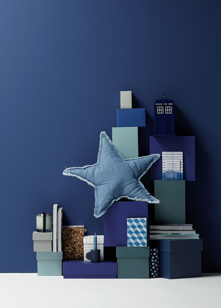 paper art blue background