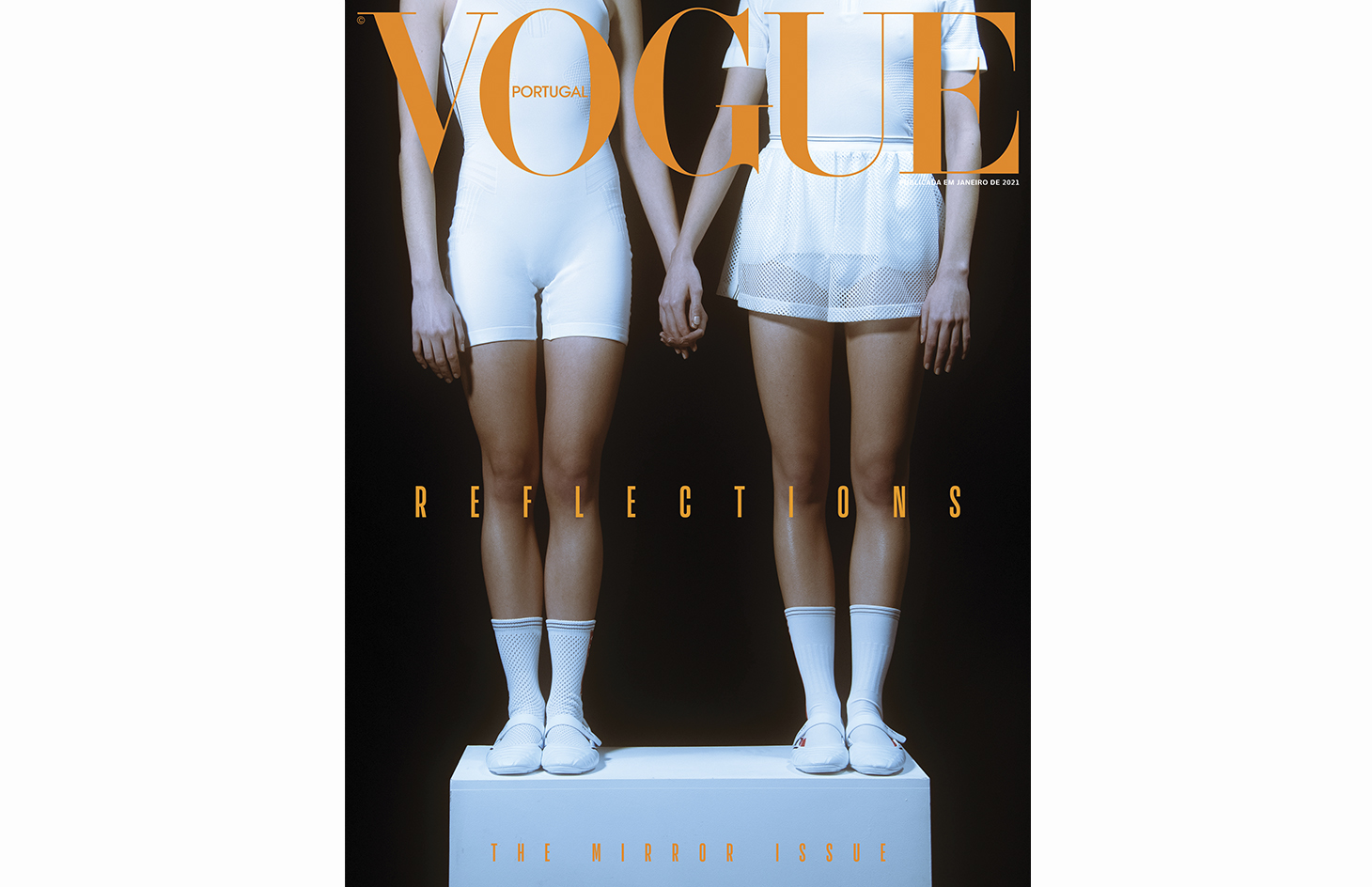 vogue portugal editorial white clothing twins short hair