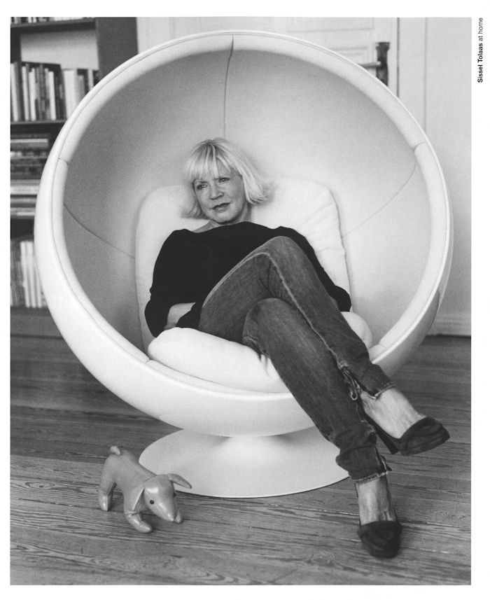 ball chair blond lady
