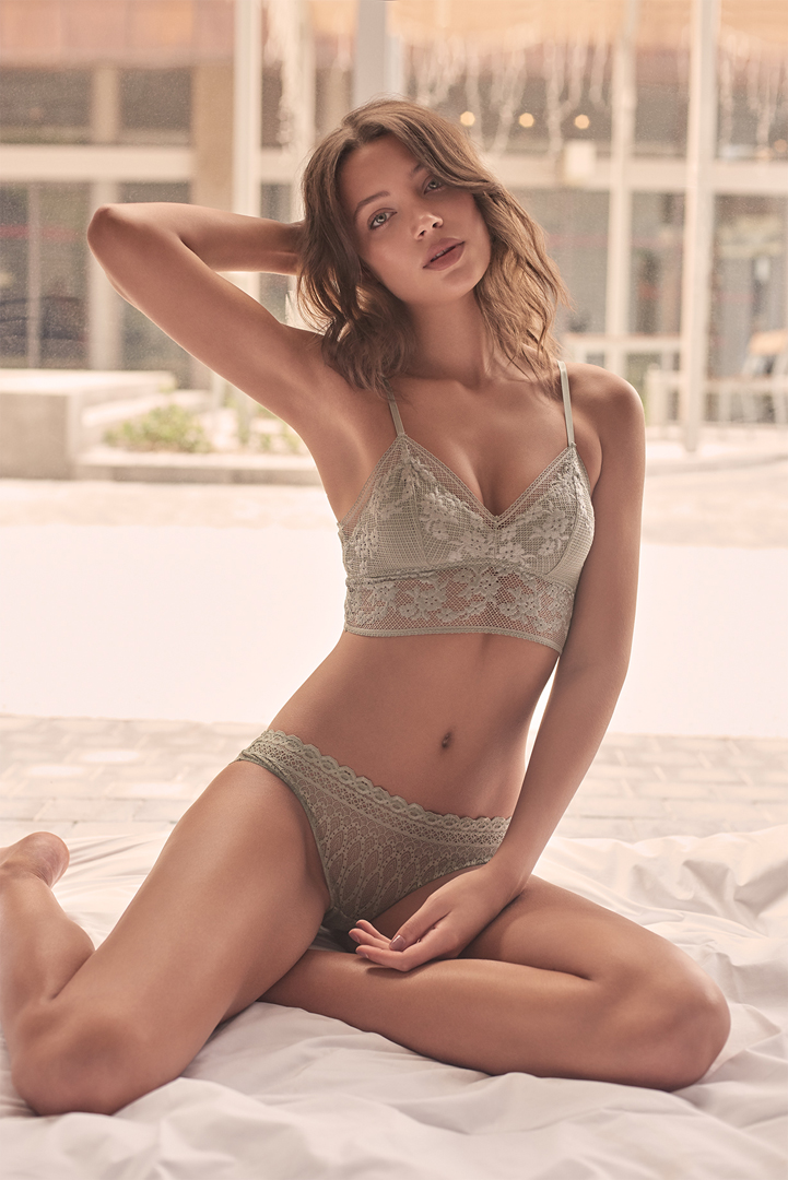 girl grey beige lingerie
