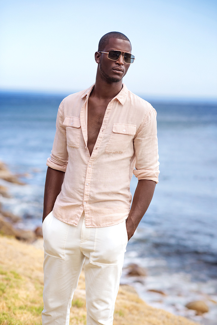 beach sunglasses tall car male model out there magazine blue sky ocean