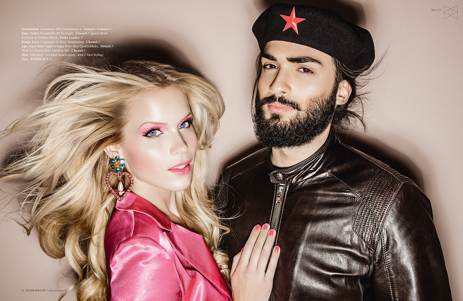 red star cap pink jacket blond hair leather jacket
