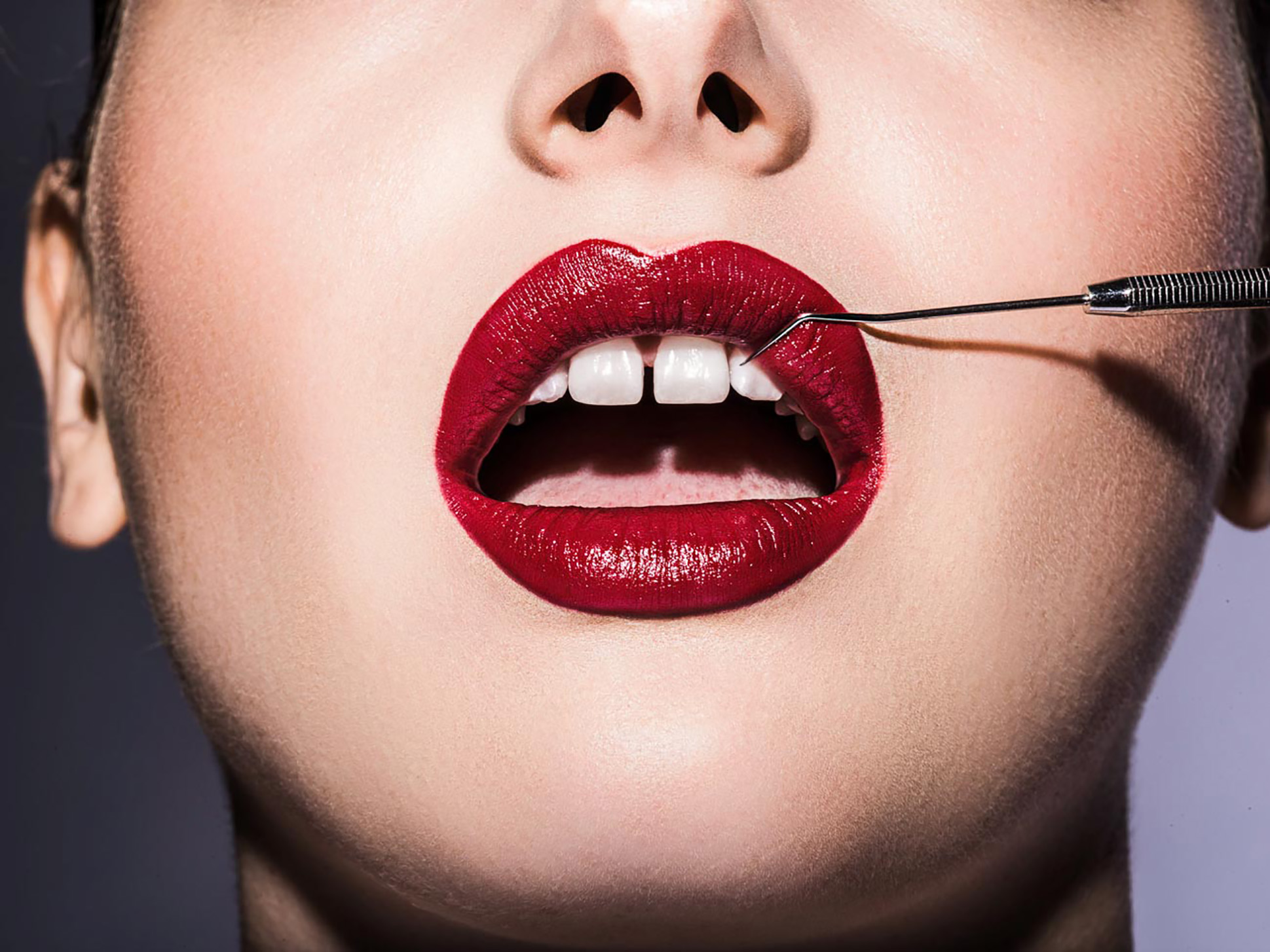 red lips dentist tool white teeth beauty makeup
