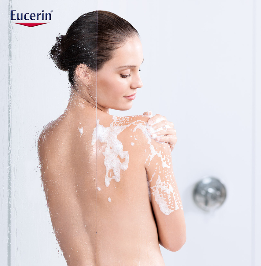 shower dark hair eucerin