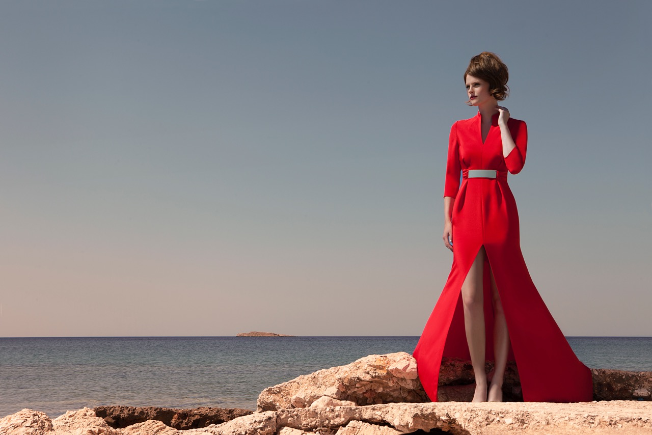 red dress greece beach girl