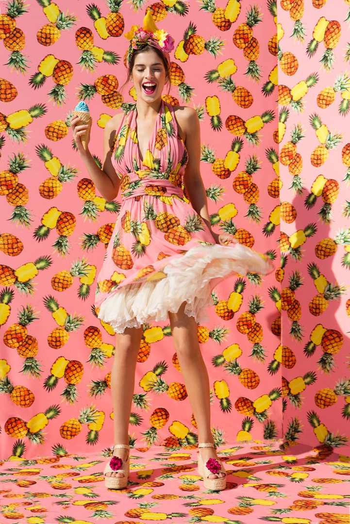 pineaple yellow pink girl fashion