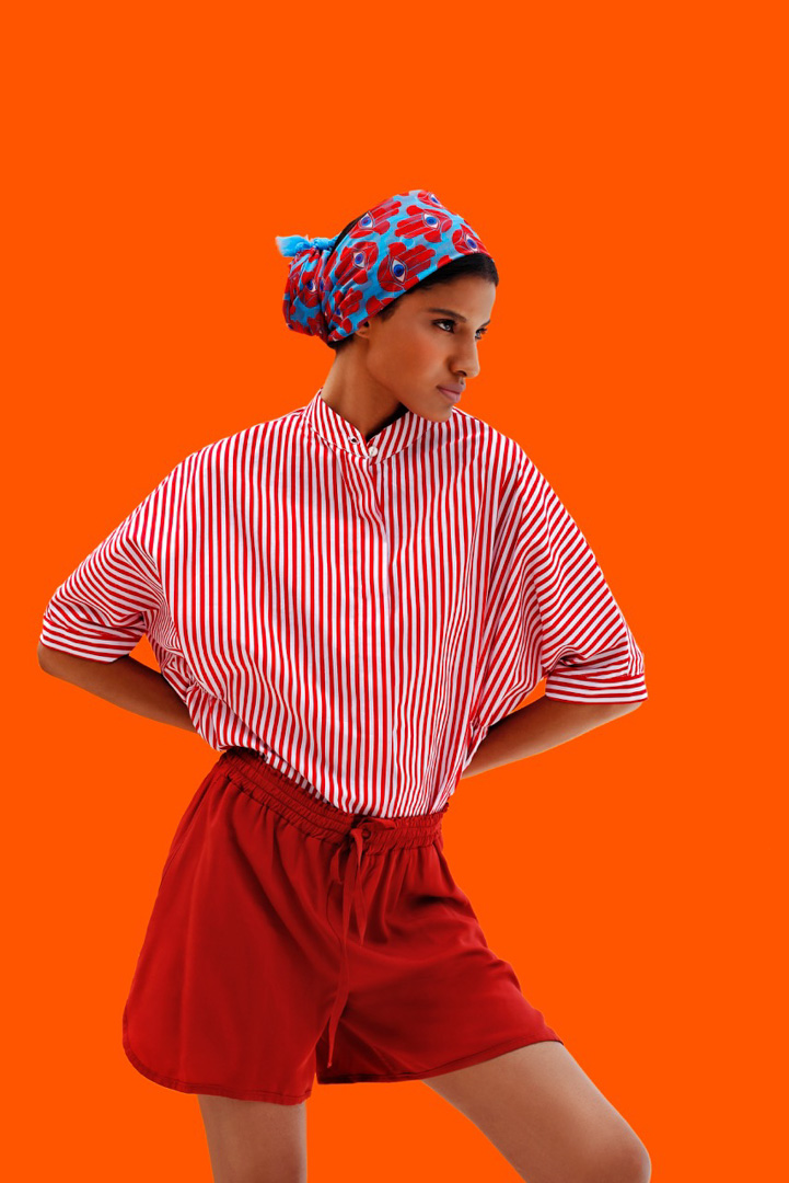 orange red walls fashion girl
