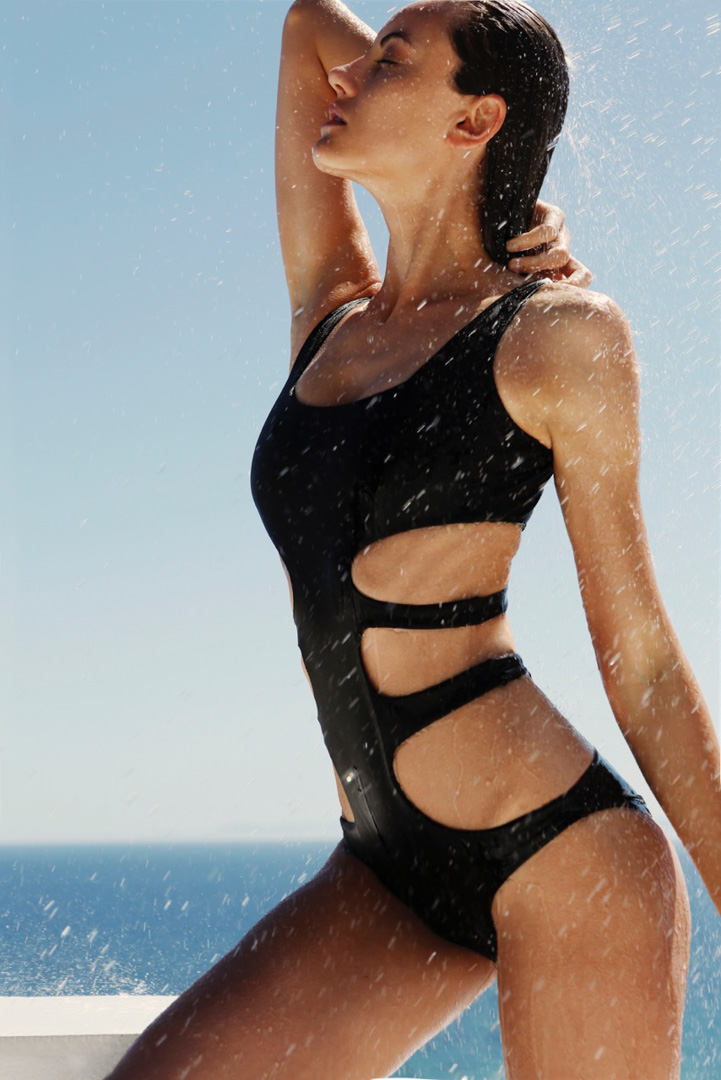 black swimwear bathingsuit girl sun water