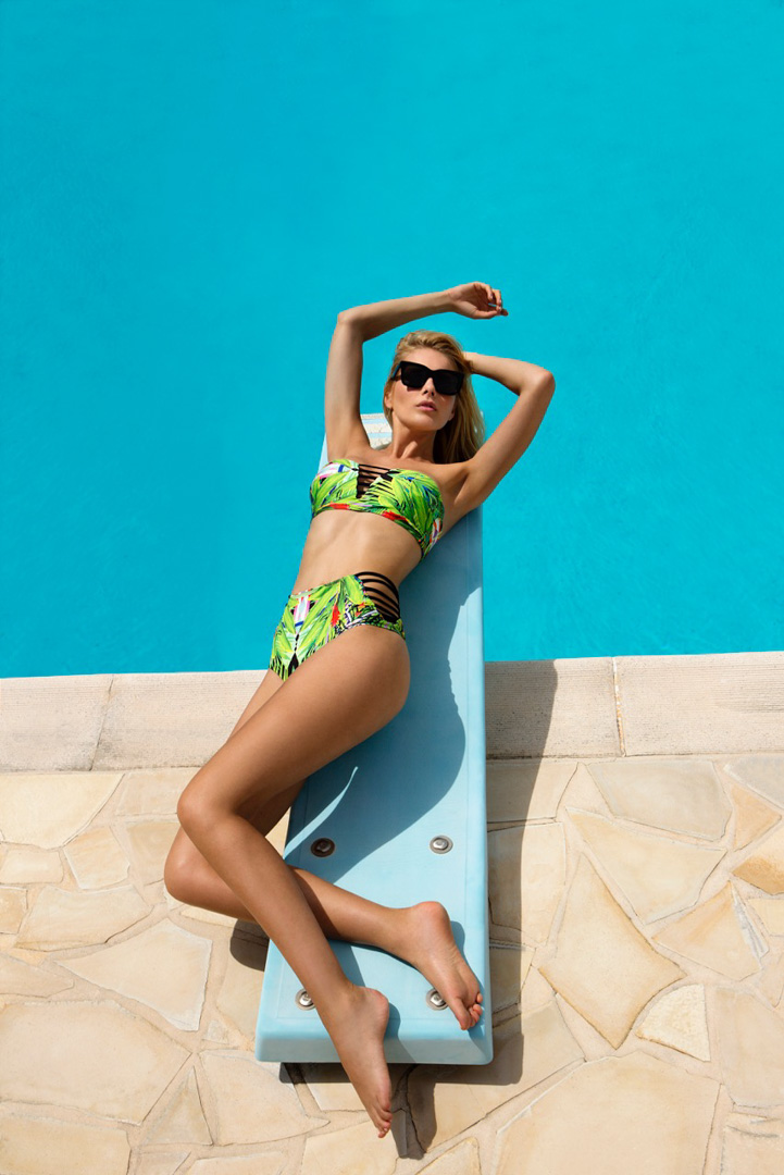 pool beachwear fashion blond girl